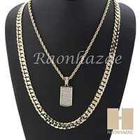 "MEN ICED OUT DOG TAG ROPE CHAIN DIAMOND CUT 30"" CUBAN LINK CHAIN NECKLACE S05G"