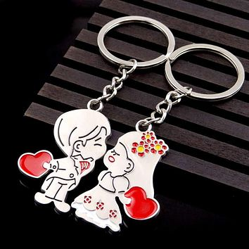 2017 Hot Lovers Couple Keychain Trinket Anime Key Chain Key Ring Souvenir Llaveros Women Valentine's Day Chaveiro Wedding Gift