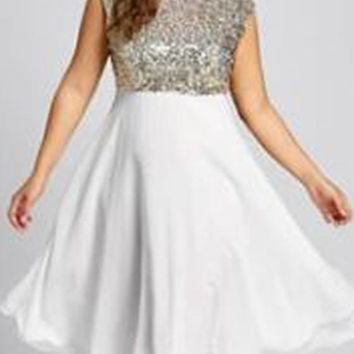 White Sequin Cascading Ruffle Glitter Plus Size High Waisted Elegant Party Midi Dress
