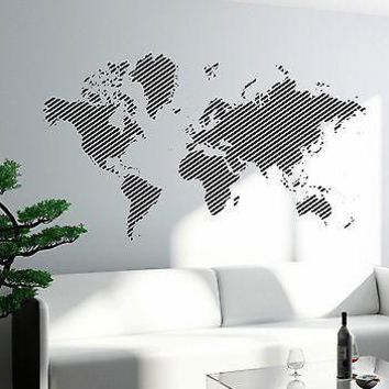 Wall Decal World Map Atlas Travel Vinyl Sticker For Living Room Unique Gift (z2825)