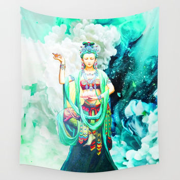 The Goddess of Mercy Wall Tapestry by Azima