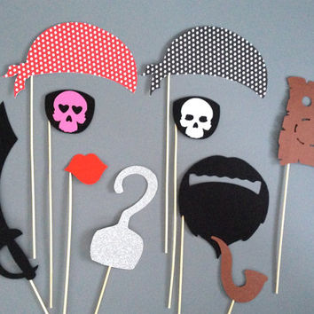 PIRATE PHOTO PROPS Photo Booth Props Pirate Themed Party Weddings Birthday Parties Halloween Pirate Birthday Party