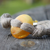 Amber Linen Bracelet Natural Baltic Eco frinedly Jewelry Disk of the Sun Donut  Yellow Orange Brown Toggle