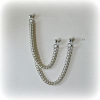 Cartilage Chain Earring - Double Chain Double Piercing - Custom Colors