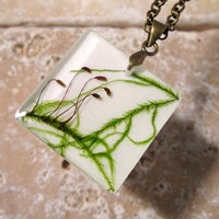 Moss Necklace, plant jewelry, leaf jewellery ,