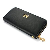 GEARONIC TM New Fashion Lady Bow-Tie Zipper Around Women Clutch Leather Long Wallet Card Holder Case Purse Handbag Bag - Black