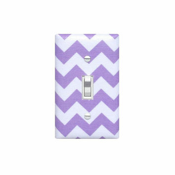 Chevron Nursery Decor /  Light Switch Plate Cover / Girls Lilac Lavendar Purple White / Slightly Smitten Kitten