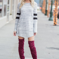 Gone For The Weekend Long Sleeve Dress (Heather Grey)