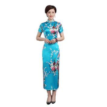 Blue, Pink, Red, White Floral Collection Silk Long Cheongsam One-piece Chinese Qipao Dress