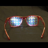 Rainbow Diffraction Vision Glasses- Transparent Red