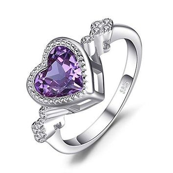 JewelryPalace Heart Love 26ct Created Alexandrite Sapphire Ring 925 Sterling Silver