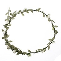 KINGSO Rose Flowers Branch Festival Wedding Garland Head Wreath Crown Floral Tool Adult Size Ivory