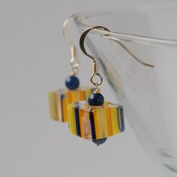 Candy cane glass bead and silver earrings - navy, yellow, orange