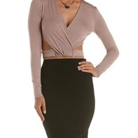 Taupe Long Sleeve Wrap Crop Top by Charlotte Russe