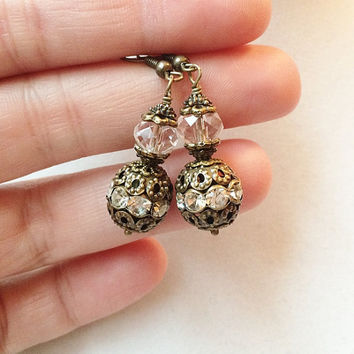 Bronze Filigree Rhinestone Orb Earrings Accented with Clear Crystals