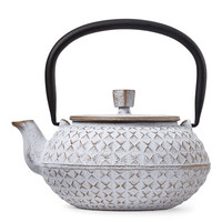 White Grid Cast Iron Teapot