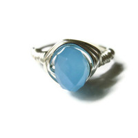Ice Blue Ring, Silver Toned Copper Wire Wrapped Glass Bead, Custom Sizing, Made To Order
