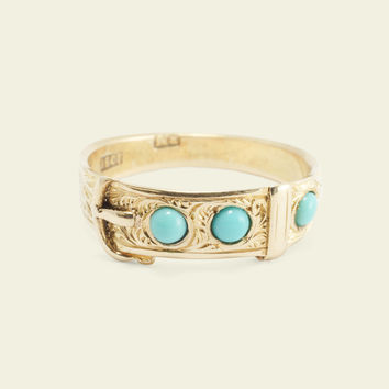 Victorian Turquoise Buckle Guard Ring