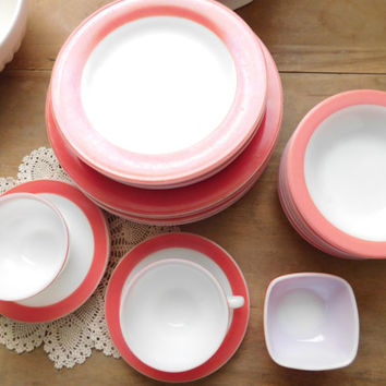 Pink Flamingo Pyrex Dinnerware Set