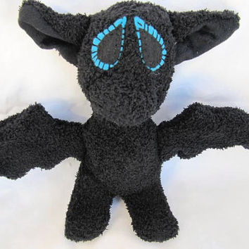 Sockimamy sock bat with blue eyes, Halloween, nocturnal animal, stuffed bat, made in USA, hand stitched, socks, machine washable, black bat