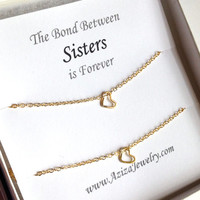 Sisters Heart Necklaces. Sister Gold Heart Necklace Set. Sister Necklaces.