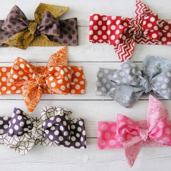 Polka Dot Baby Headwrap - Oversized Bow Baby Headwrap - Knot Bow Baby Headwrap - Orange Brown Gray Red Purple Pink Polka Dot Headwrap Prop