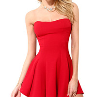Strapless Mini Skater Dress