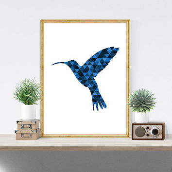 Blue Bird Art, Geometric Bird Print, Geometric Animals, Blue Hummingbird, Bird Print, Bird Decor, Blue Bird Print, Blue Animals *179*