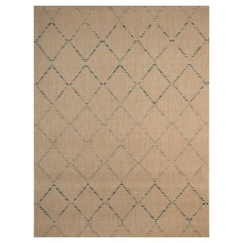 "Smith and Hawken Azure Diamond 9'2"" x 11'11"" Outdoor Patio Rug - Light Brown/Aqua"