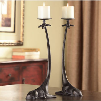 SPI Home Collection Aluminum Sitting Giraffe Candleholder (Pair of Two)