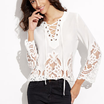 White Lace Up V Neck Embroidered Lace Insert Top | MakeMeChic.COM