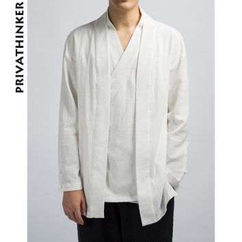 Trendy Sinicism Store INS Men Clothes 2018 Mens Cotton And Linen Solid Causal Kimono Black Jacket Male Korean Style Windbreaker AT_94_13