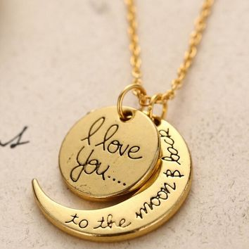 LNRRABC Sale Long Ladies Necklaces Gold Silver Color Letter I Love You Pendant Necklace Charm Women Jewelry Valentine's DayGift