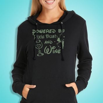 Powered By Pixie Dust And Wine Disney Tinkerbell Women'S Hoodie