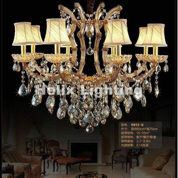 Golden Modern K9 Crystal Chandeliers Light Ceiling Chandelier Fixtures For LED Dining Room Bedroom Lighting AC 100% Guaranteed