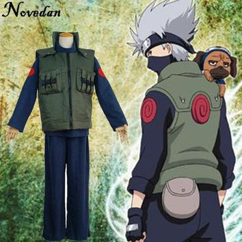 Naruto Sasauke ninja  Cosplay Costume Japanese Anime Ninja Coat Shinobi Kakashi Hatake Cosplay Cartoon Green Vest For Show Man Fancy Adult AT_81_8