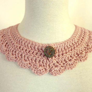 Detachable Peter Pan Collar Pink Rose Crochet Collar Necklace