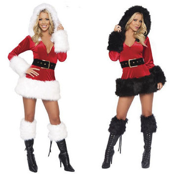 Hooded Santa Claus Xmas Dress Adult Women Party Dress Sexy Unique Christmas Costume Winter Dress Party Dress Cosplay Suit
