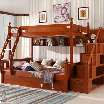 Webetop Customizable American Country Wood Childrens Bunk Beds With Stairs Kindergarten Furniture Kids Bedroom Sets Trailer bed