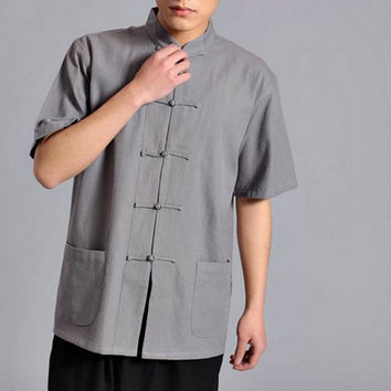 Grey Short Sleeved Tai Chi Shirt