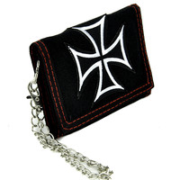 Iron Cross Tri-fold Wallet w/ Chain Occult Clothing