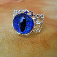 Steampunk Gothic GLOW uv - Ring - Dragon Evil Eye