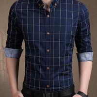 Checked Shirt Collar Long Sleeve Button-Down Shirt