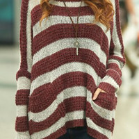 Red Striped Long Sleeves Sweater