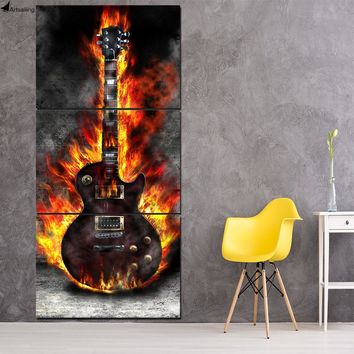 HD Printed 3 Panel Canvas Art Burning Guitar Canvas Painting Room Decor
