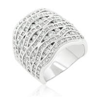 Sandra Pave Abstract Cocktail Statement Band Ring | 10ct | Cubic Zirconia | SIlver