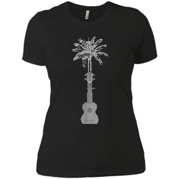 Funny Palm Tree Ukulele Shirt Beach Music Lover Cool T-shirt Next Level Ladies Boyfriend Tee