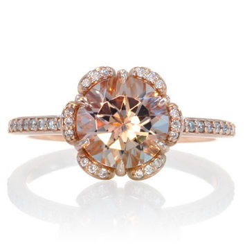 Rose Gold Morganite Ring 14K Diamond Halo Solitaire Morganite Engagement Anniversary Wedding Ring