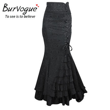 Burvogue Women 2016 New Vintage Trumpet Skirts Sexy Mermaid Long Skirt Lace Long Skirt Slimming Steampunk Skirts Corset
