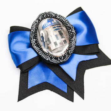 Star Wars R2D2 Droid Blue & Black Traditional Hair Bow Clip